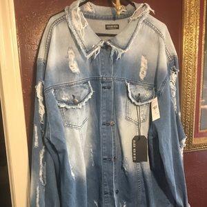 Fashion Nova Plus jean jacket size 3 x